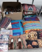 Two Beaver State blankets, Native American cushions, table covers etc Condition Report: Not