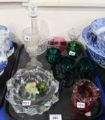 A collection of antique glass including a wine glass marked Elizabeth Cocksworth, Woodmansey 1838,