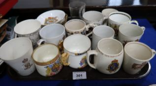 A Dame Laura Knight 1937 Coronation mug, other commemorative mugs, dishes etc Condition Report: