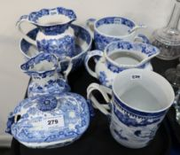 A Chinese export cylindrical mug and assorted other blue and white ceramics Condition Report: