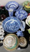 A Pratt pot lid, a Spode pickle dish, a blue and white transfer printed bowl decorated with cows