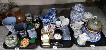 A Moorcroft Hibiscus pattern trinket dish, Wedgwood jasperware, stoneware jug, a Blue and White fo