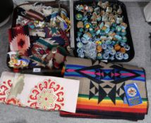 A Beaver State saddle blanket, assorted hand painted handles and other items Condition Report: Not