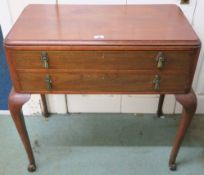 A mahogany two drawer canteen on cabriole legs, 82cm high x 88cm wide x 46cm deep Condition