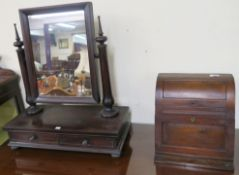 A mahogany toilet mirror with two drawers and a small stationery box (2) Condition Report: Available