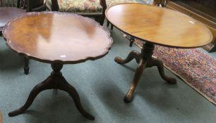 A mahogany circular table on tripod base, 52cm high x 74cm diameter and a burr walnut occasional