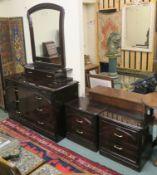 A three drawer chest of drawers, 80cm high x 133cm wide x 54cm deep, wall mirror 105cm high x 88cm