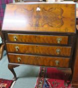 A walnut bureau with three drawers (def) Condition Report: The back has been treated for woodworm .