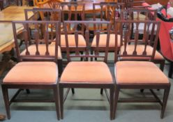 A set of three mahogany dining chairs and two pairs of similar dining chairs (7) Condition Report: