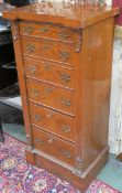 Victorian style burr-walnut secretaire Wellington chest, with single drawer over fitted secretaire