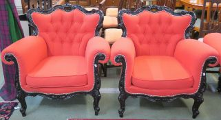 A pair of French style armchairs with painted black frame, 87cm high x 90cm wide x 87cm deep (2)