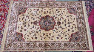 A modern ivory ground Kashmir rug with unique floral design, 170cm x 116cm Condition Report:
