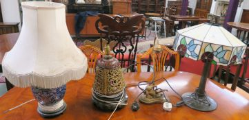 A Tiffany style table lamp and three other table lamps (4) Condition Report: Available upon request