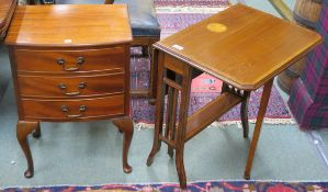 A mahogany three drawer bedside table, 65cm high x 45cm wide x 33cm deep and a small inlaid mahogany