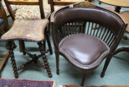 An oak carved stool with barley twist supports and cross stretchers and a Victorian inlaid chair (2)