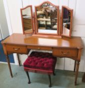 A reproduction dressing table, 76cm high x 126cm wide x 43cm deep. dressing stool and a pine