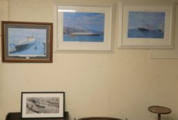 Three Bauwens limited edition prints, 372/750 of RMS Queen Elizabeth and 306/650 Aquitania, 44/850