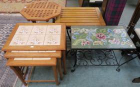 A Danish Toften teak nest of tables with tile top, A small Laxdale teak folding table, Teak side