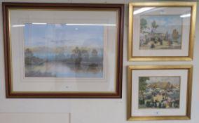 Two prints by H Barnoin, Le Port De Concarneau (Bretagne) and Le Marche Du Faquet ,22cm high x