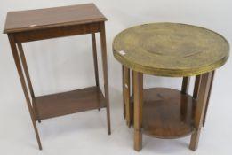 A mahogany side table (John Taylor and Son, Edinburgh), 77cm high x 49cm wide x 32cm deep and a