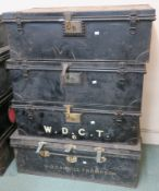 Three Jones`s metal trunks and another metal trunk (4) Provenance: The Late Dr Helen. E. C.
