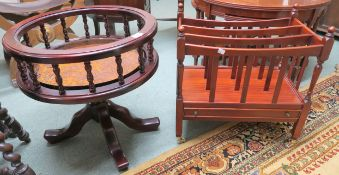 A reproduction mahogany Canterbury and circular table with metal inset (2) Condition Report: