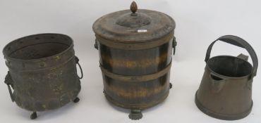An oak coal bin, planter and copper jug (3) Provenance: The Late Dr Helen. E. C. Cargill Thompson