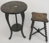 A carved oak stool with barley twist legs and stretchers and an occasional table (2) Condition