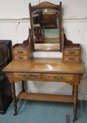 A walnut dressing table with mirror, 160cm high x 106cm wide x 52cm deep Condition Report: