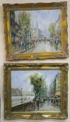 A pair of gilt framed Parisian scenes oil on canvas, 50cm x 60cm (2) Condition Report: