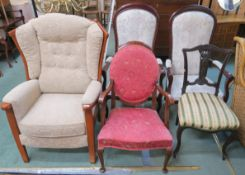 A pair of armchairs, two armchairs and a parlour chair (5) Condition Report: Available upon request