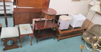 A mixed lot of occasional furniture, including trolley, lamps, sewing table etc Condition Report:
