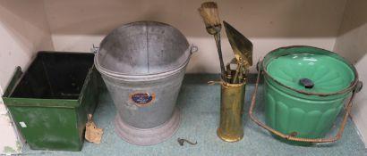 A green enamel coal bucket, kindling box, companion set and a galvanized Waterloo bucket (4)