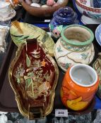 A Charlotte Rhead for Crown Ducan vase, two Carlton Ware dishes, Poole Pottery vase etc Condition