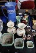 A Royal Doulton Toby Ake toby jug, a John Tams Sylvan jasper ewer and assorted other ceramics