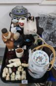 A blanc de chine Guanyin, Urasaki doll (def), resin netsukes and other items Condition Report: Not