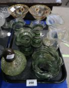 A pair of fine glass champagne glasses (one af), three clear glass vases with green trail