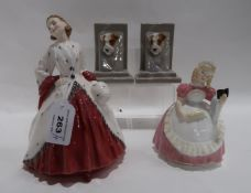 Two Royal Doulton figures including The Ermine Coat and Cookie together with a pair of terrier