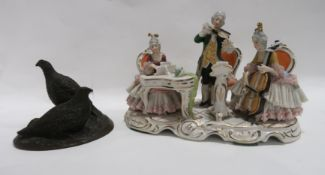 A bronzed group of grouse together with a German porcelain group of musicians, 21cm long Condition