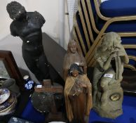 A plaster figure of an art nouveau maiden, with inset clock and various other figures Condition