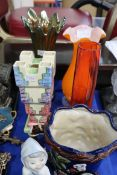 A Myott and Son brick vase, a carnival glass vase and other items Condition Report: Not available