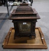 A caryatid carved clock case (no movement) and three graduated trays Provenance: The Late Dr