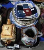 An Ironstone jug, blue and white transfer printed dishes and other items Condition Report: Not