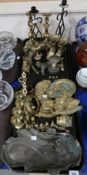 An Art Nouveau style tray, assorted brassware including plaques of Reubens and Van Dyke, Italian