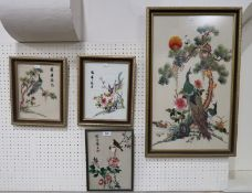 Four assorted Japanese embroideries, including peacocks in trees Condition Report: Not available for