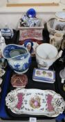 A Richard Ginori two handled pot, a blue and white jug and assorted other ceramics Condition Report: