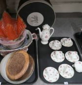 A Royal Doulton coffee set decorated with pink roses, an orange cross hatched handkerchief vase, a