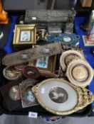 A collection of framed portrait prints, boxes etc Condition Report: Not available for this lot