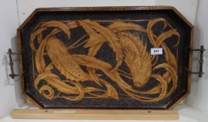 A pokerwork tray, depicting Koi carp Condition Report: Not available for this lot