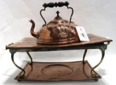 A copper kettle on stand Condition Report: Available upon request
